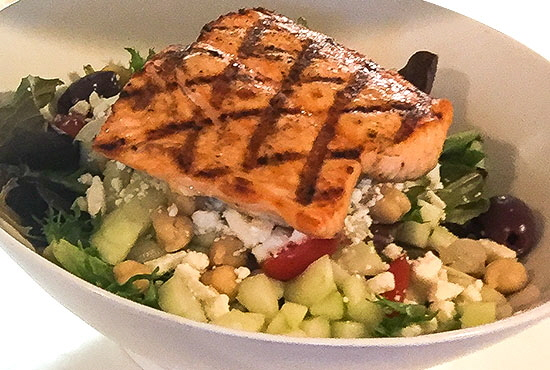 Grilled Salmon on Mixed Greens..... Don't Miss Our Daily Salad Specials